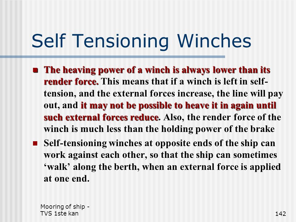 Self Tensioning Winches