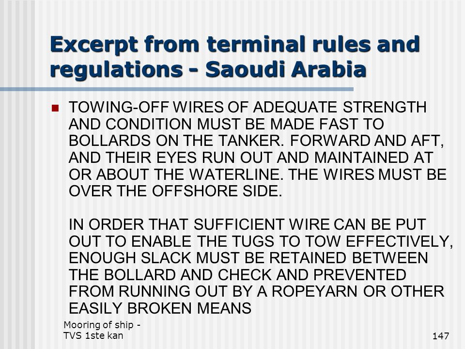 Excerpt from terminal rules and regulations - Saoudi Arabia