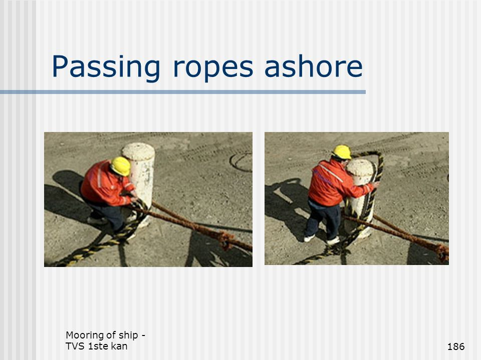 Passing ropes ashore Mooring of ship - TVS 1ste kan