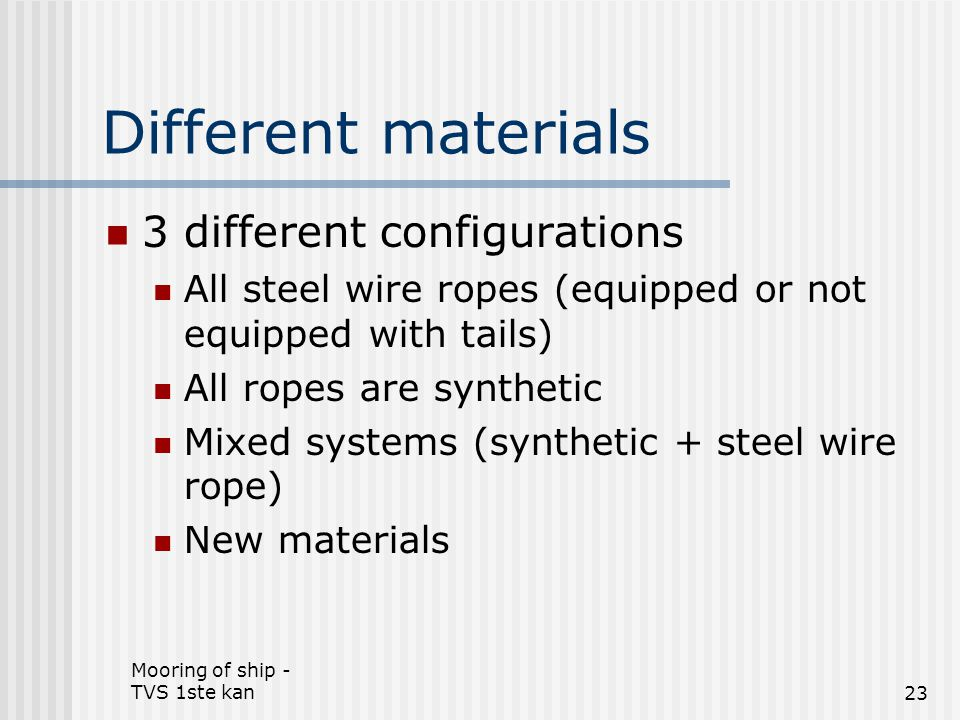 Different materials 3 different configurations