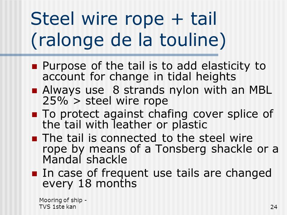 Steel wire rope + tail (ralonge de la touline)