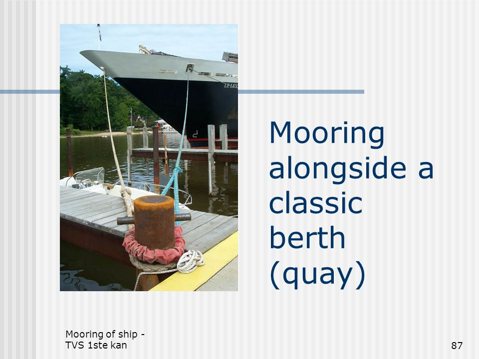 Mooring alongside a classic berth (quay)