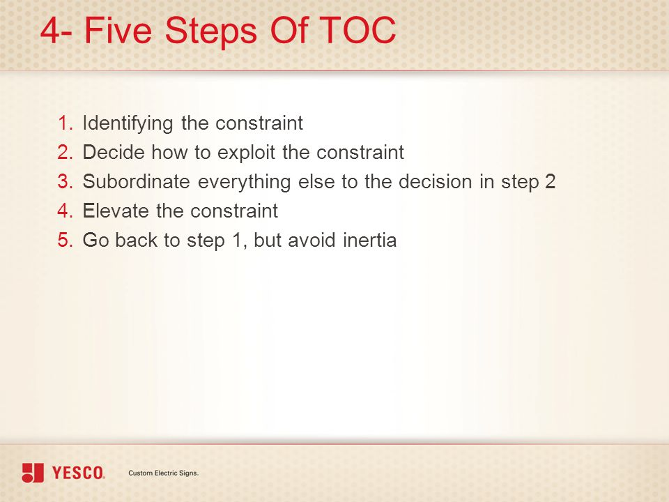 4- Five Steps Of TOC Identifying the constraint