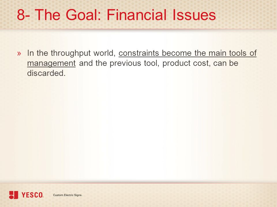 8- The Goal: Financial Issues
