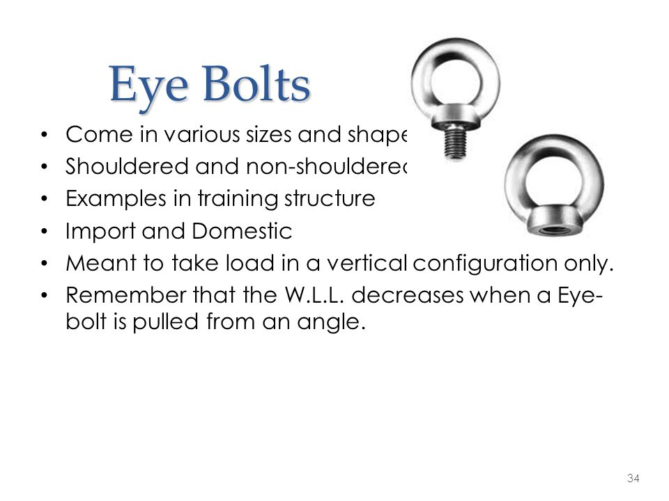 Eye Bolts Come in various sizes and shapes