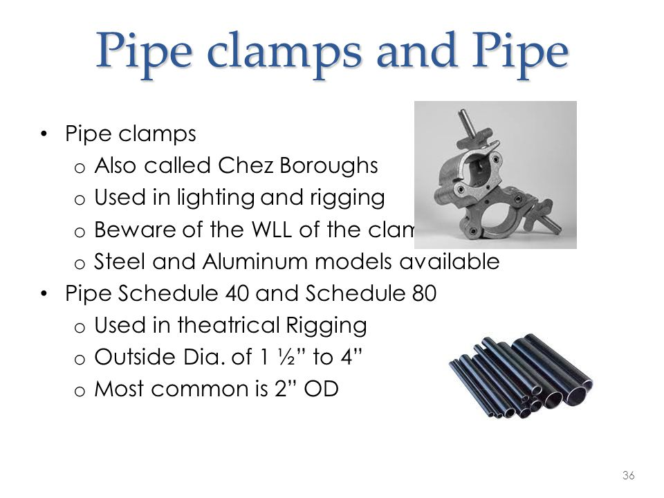 Pipe clamps and Pipe Pipe clamps Also called Chez Boroughs