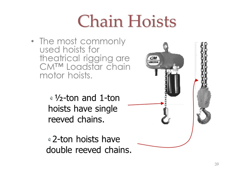 Chain Hoists The most commonly used hoists for theatrical rigging are CM™ Loadstar chain motor hoists.