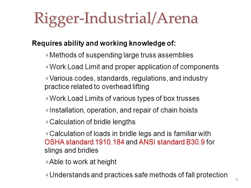 Rigger-Industrial/Arena