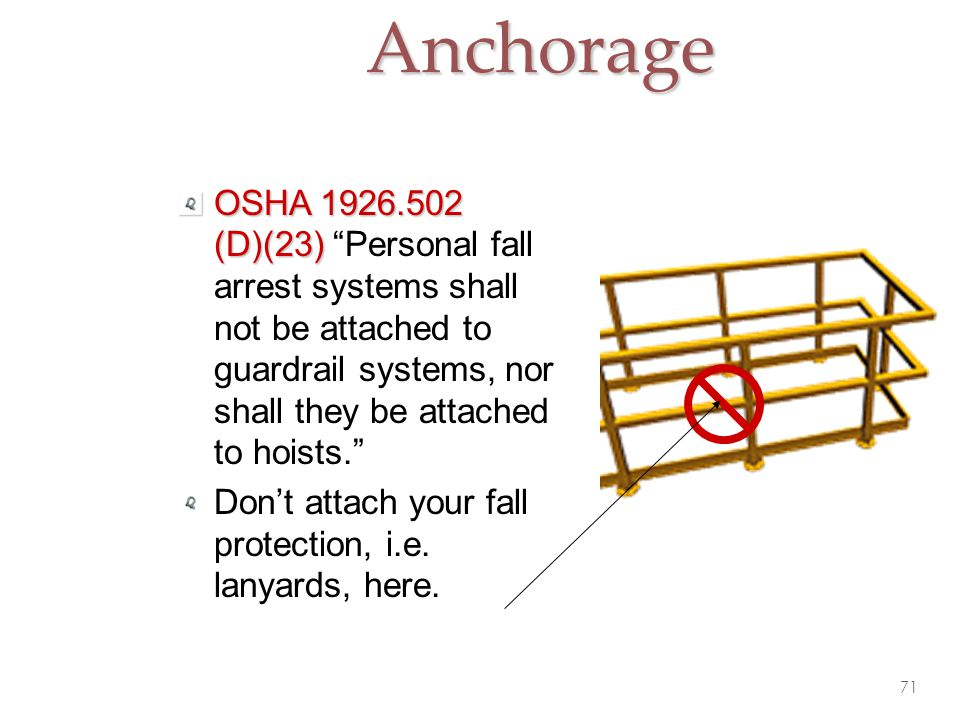 Anchorage OSHA 1926.502 (D)(23) Personal fall arrest systems shall not be attached to guardrail systems, nor shall they be attached to hoists.