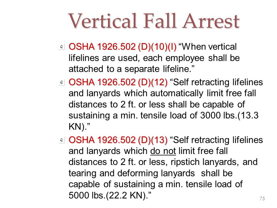 Vertical Fall Arrest OSHA 1926.502 (D)(10)(I) When vertical lifelines are used, each employee shall be attached to a separate lifeline.