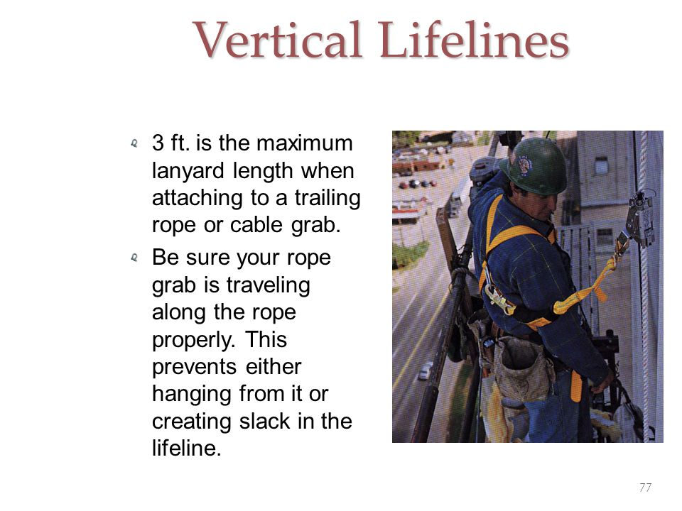 Vertical Lifelines 3 ft. is the maximum lanyard length when attaching to a trailing rope or cable grab.