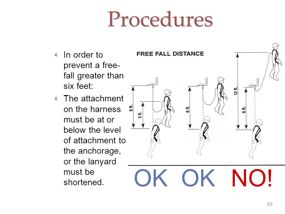 Procedures In order to prevent a free-fall greater than six feet: