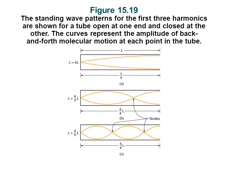 Figure 15.19 The standing wave patterns for the first three harmonics are shown for a tube open at one end and closed at the other.