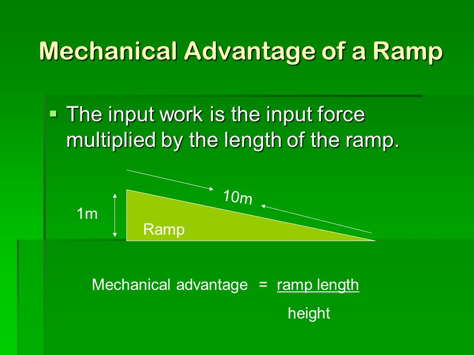 Mechanical Advantage of a Ramp