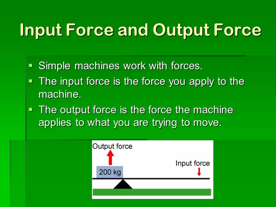 Input Force and Output Force