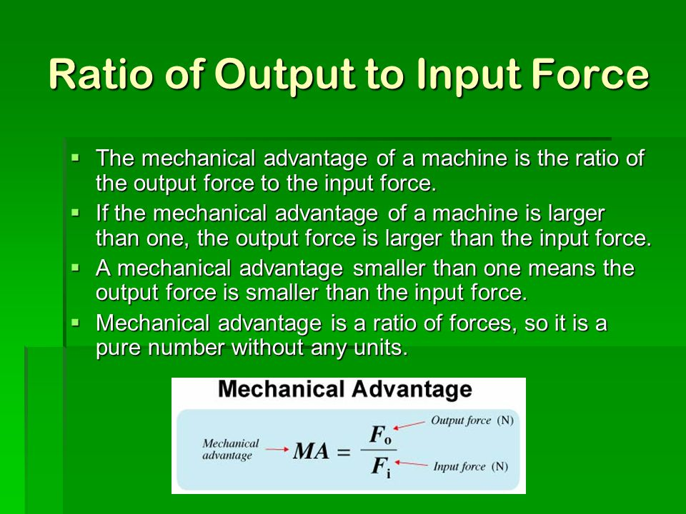 Ratio of Output to Input Force