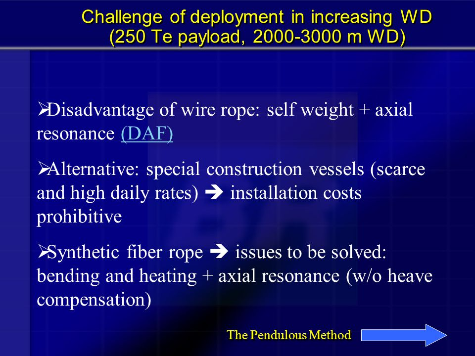 Disadvantage of wire rope: self weight + axial resonance (DAF)
