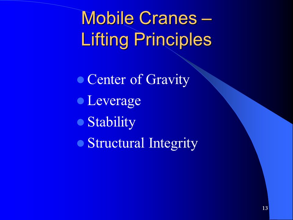 Mobile Cranes – Lifting Principles