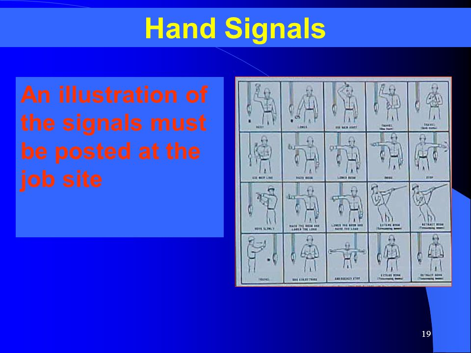 Hand Signals An illustration of the signals must be posted at the job site. APPLICABLE OSHA STANDARD.