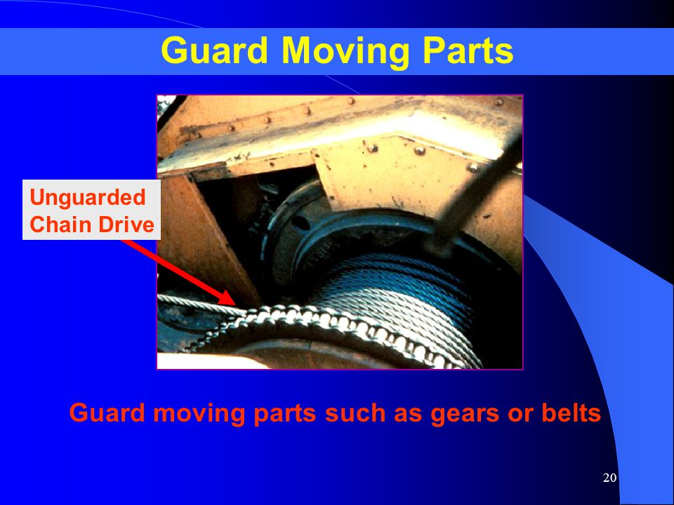 Guard Moving Parts Guard moving parts such as gears or belts Unguarded
