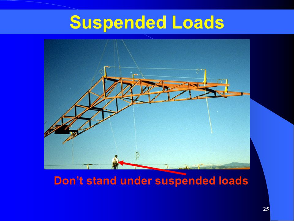 Suspended Loads Don't stand under suspended loads
