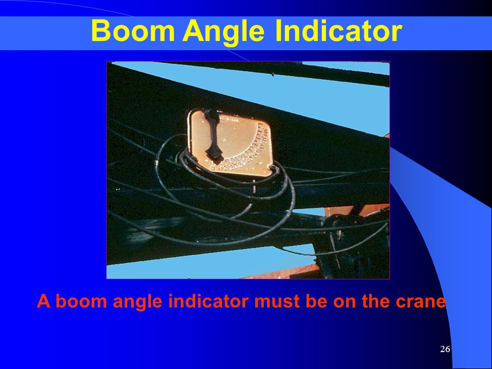 A boom angle indicator must be on the crane