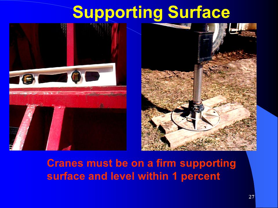 Supporting Surface Level the crane according to the manufacturer's specifications. Extend outrigger beams.