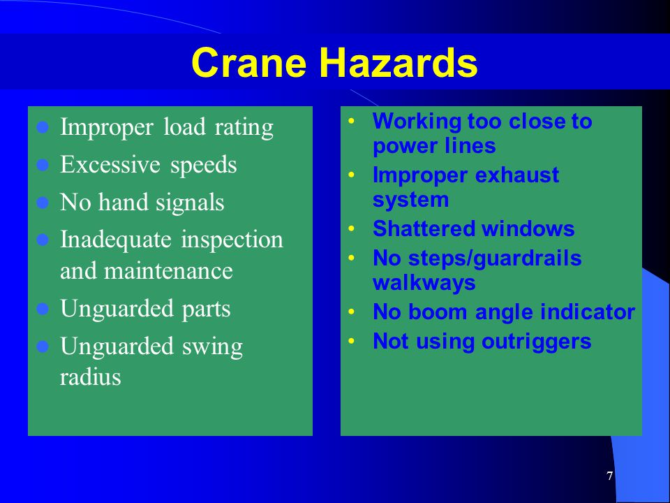 Crane Hazards Improper load rating Excessive speeds No hand signals
