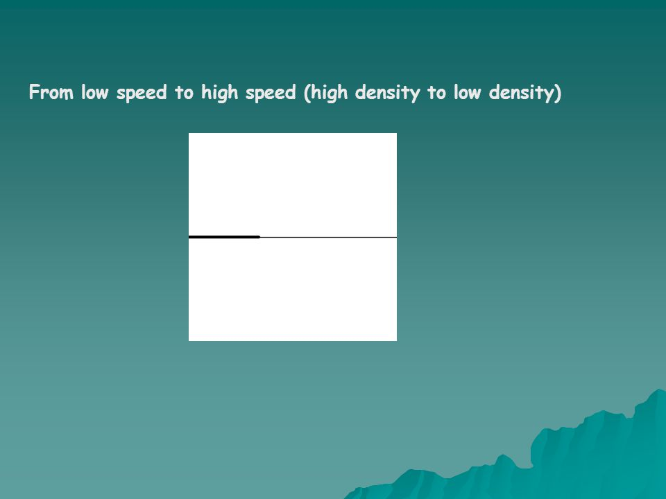 From low speed to high speed (high density to low density)