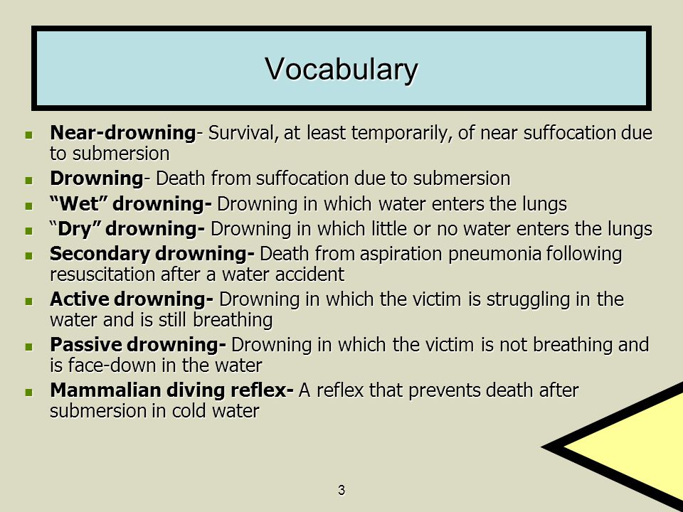 Vocabulary Near-drowning- Survival, at least temporarily, of near suffocation due to submersion. Drowning- Death from suffocation due to submersion.