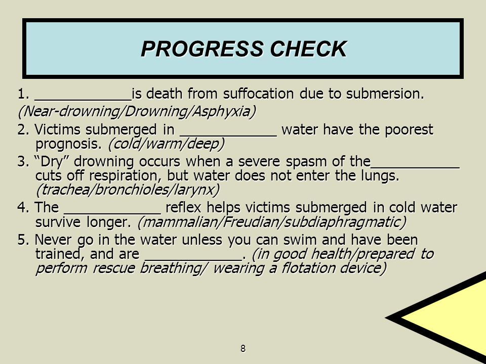 PROGRESS CHECK 1. ____________is death from suffocation due to submersion. (Near-drowning/Drowning/Asphyxia)