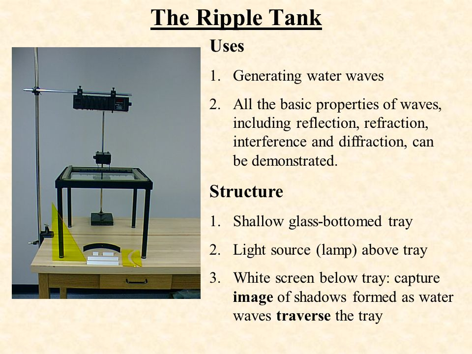 The Ripple Tank Uses Structure Generating water waves