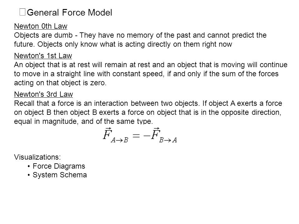 General Force Model Newton 0th Law
