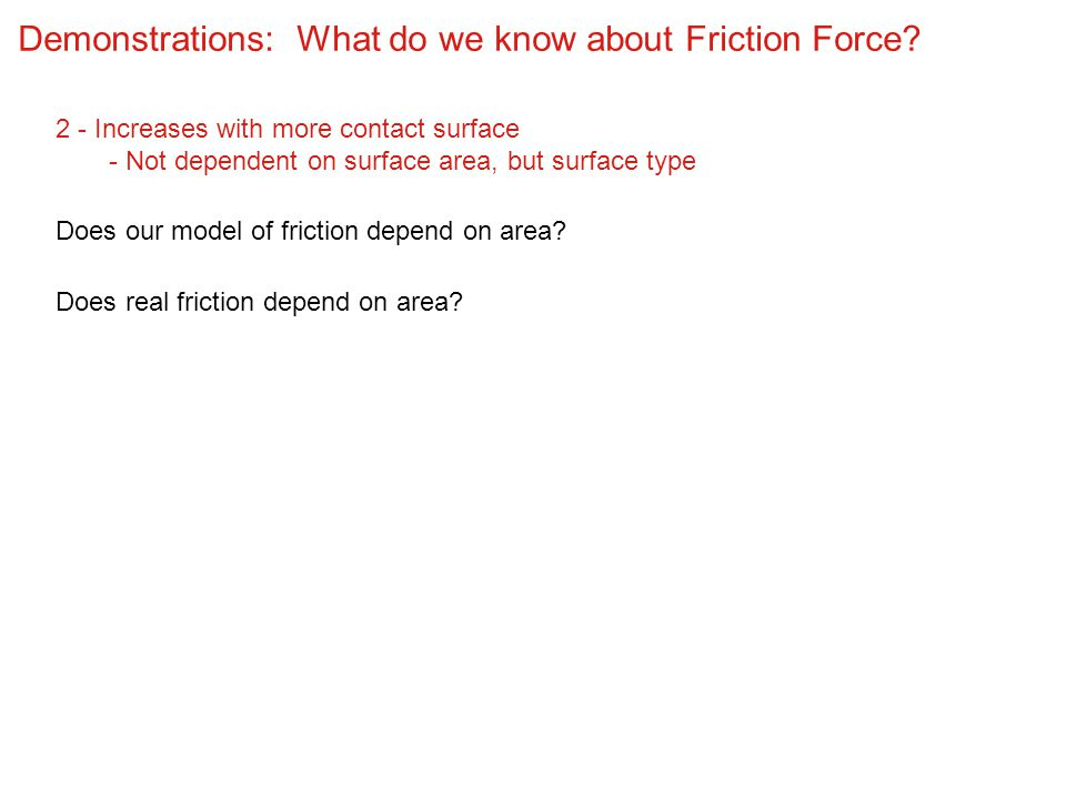 Demonstrations: What do we know about Friction Force