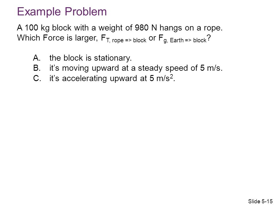 Example Problem A 100 kg block with a weight of 980 N hangs on a rope. Which Force is larger, FT, rope => block or Fg, Earth => block