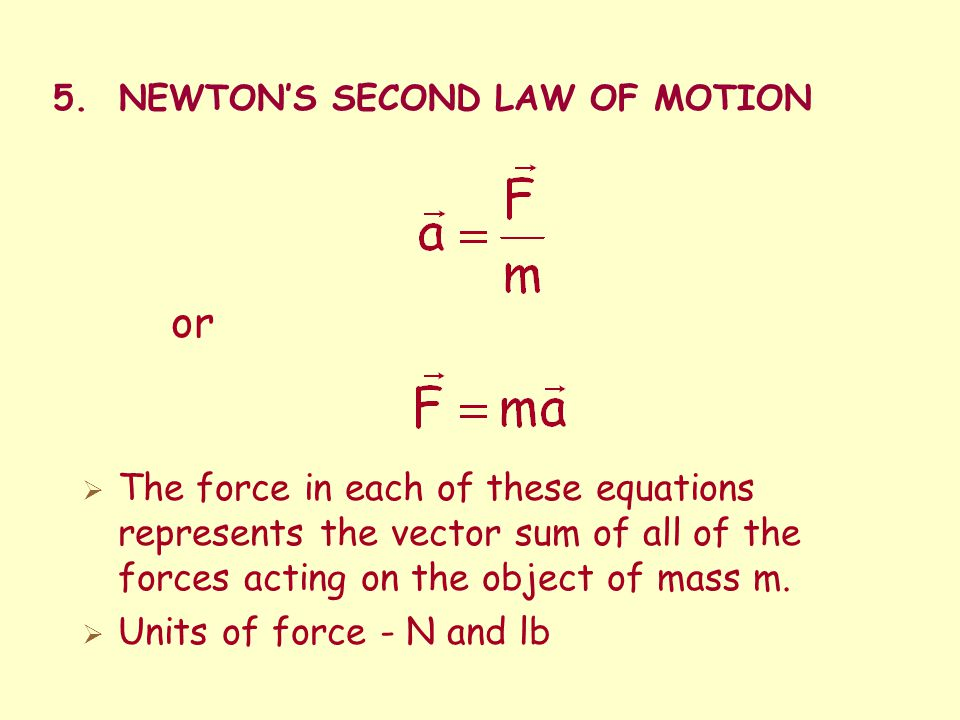 5. NEWTON'S SECOND LAW OF MOTION