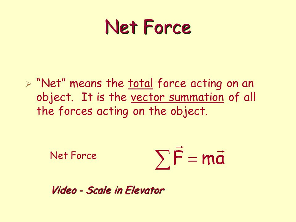 Net Force Net means the total force acting on an object. It is the vector summation of all the forces acting on the object.