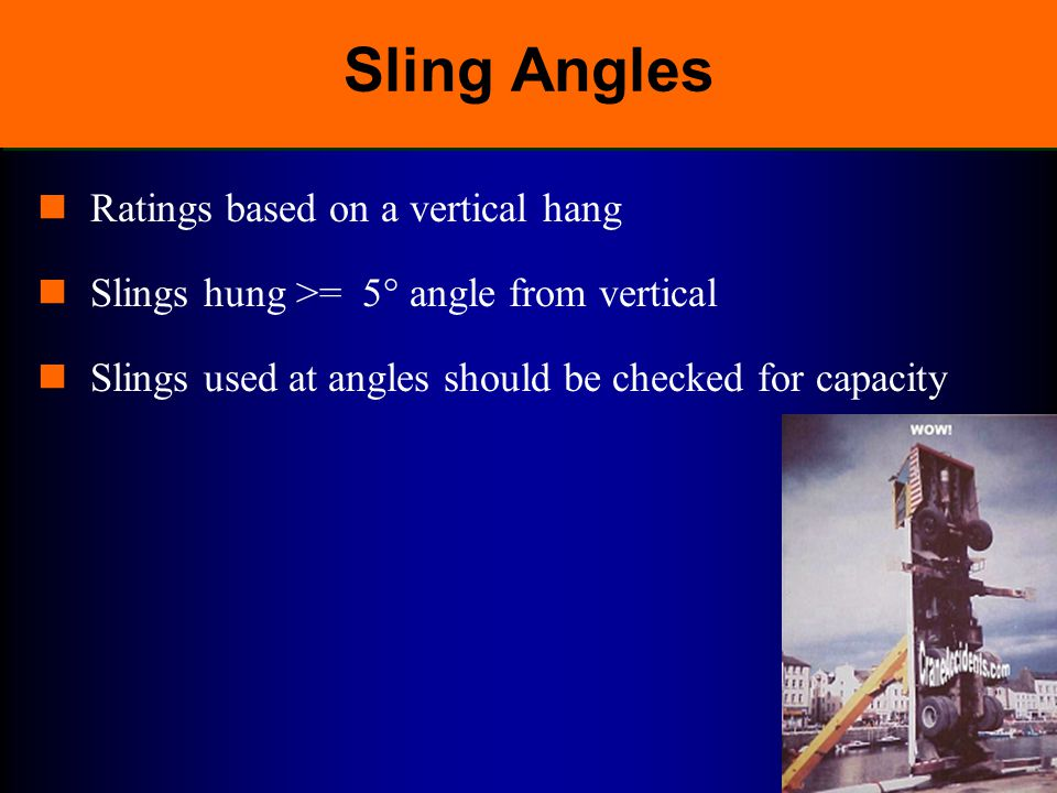 Sling Angles Ratings based on a vertical hang