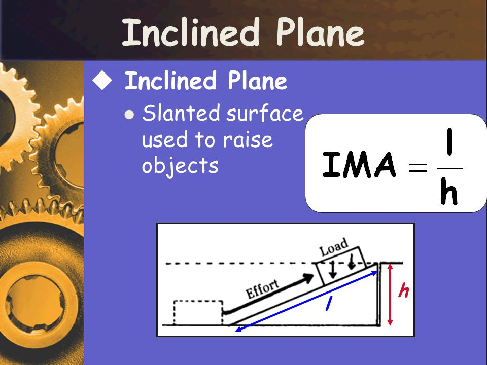 Inclined Plane Inclined Plane Slanted surface used to raise objects h