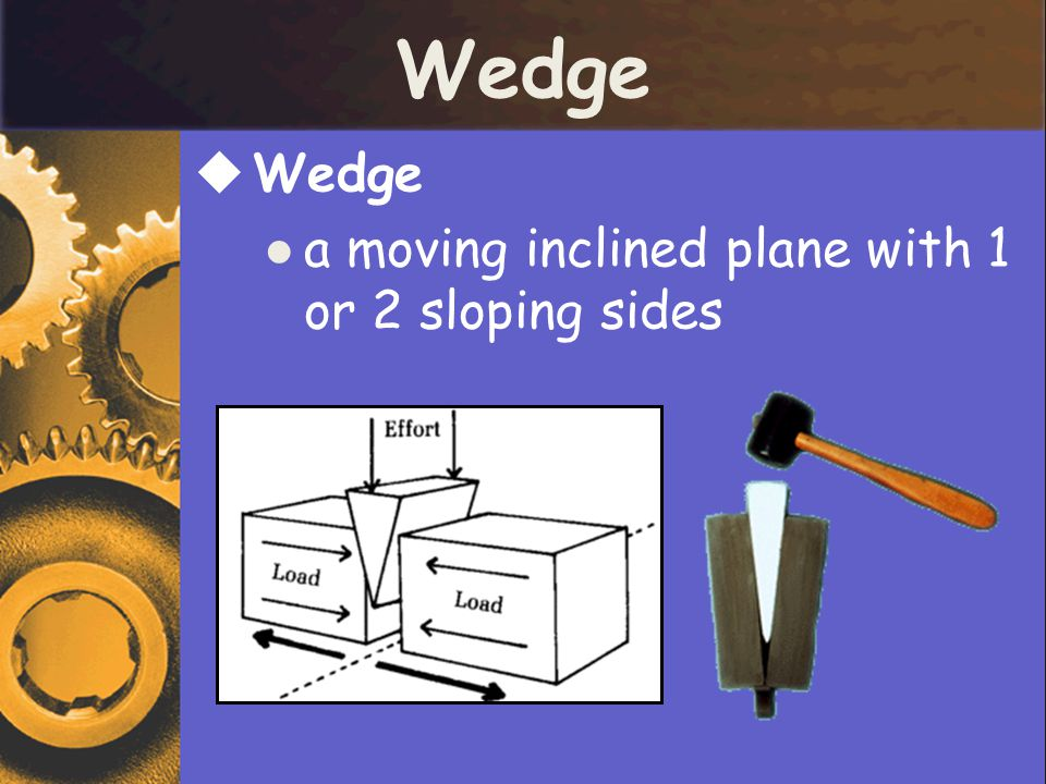 Wedge Wedge a moving inclined plane with 1 or 2 sloping sides