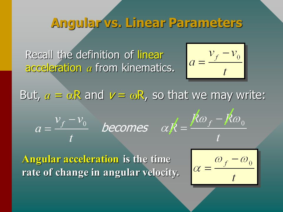 Angular vs. Linear Parameters