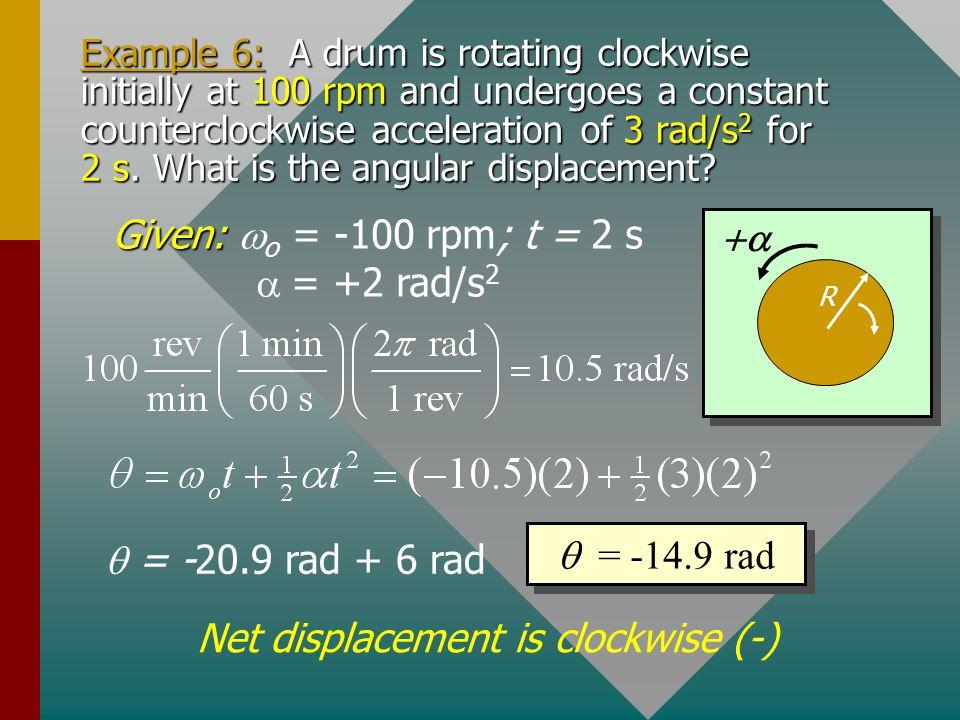 Given: wo = -100 rpm; t = 2 s a = +2 rad/s2 +a