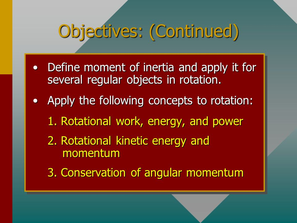 Objectives: (Continued)