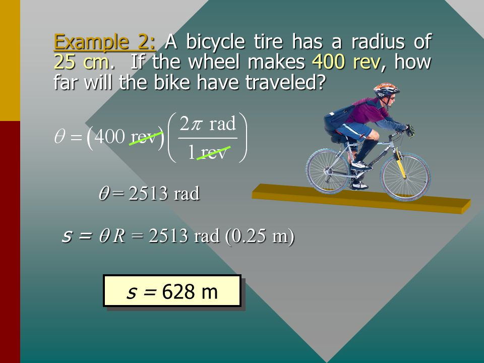 Example 2: A bicycle tire has a radius of 25 cm