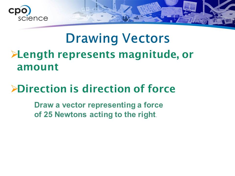 Drawing Vectors Length represents magnitude, or amount