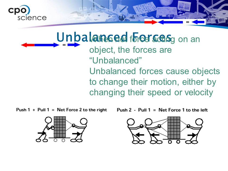 Unbalanced Forces When net force acting on an object, the forces are Unbalanced