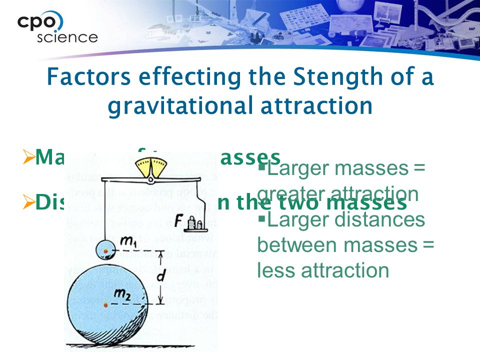 Factors effecting the Stength of a gravitational attraction