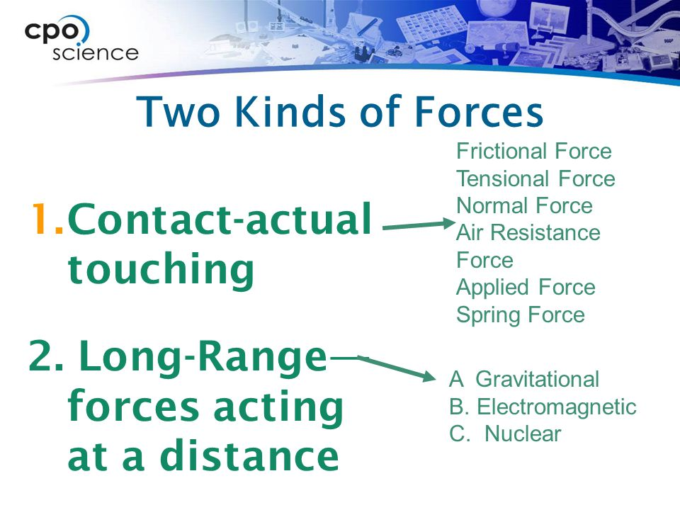 Contact-actual touching 2. Long-Range— forces acting at a distance