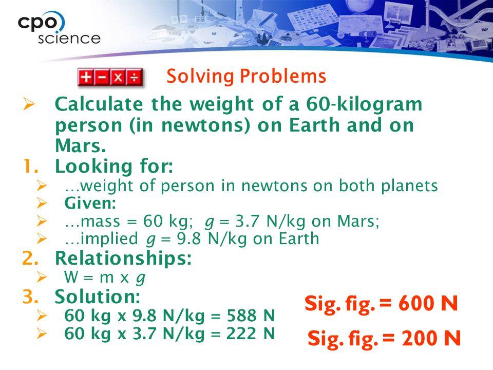 Sig. fig. = 600 N Sig. fig. = 200 N Solving Problems