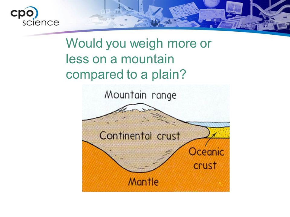 Would you weigh more or less on a mountain compared to a plain